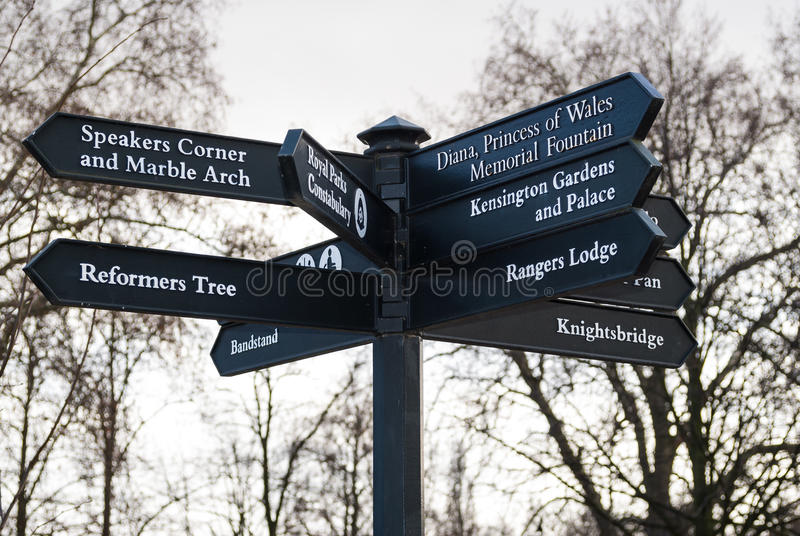 Crossroads sign in Hyde Park in London, England royalty free stock photos