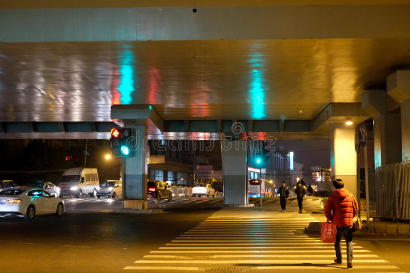 crossroads Street view at night royalty free stock photos
