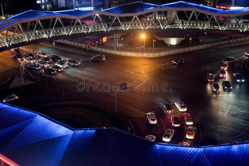 Crossroads Street view at night royalty free stock photo