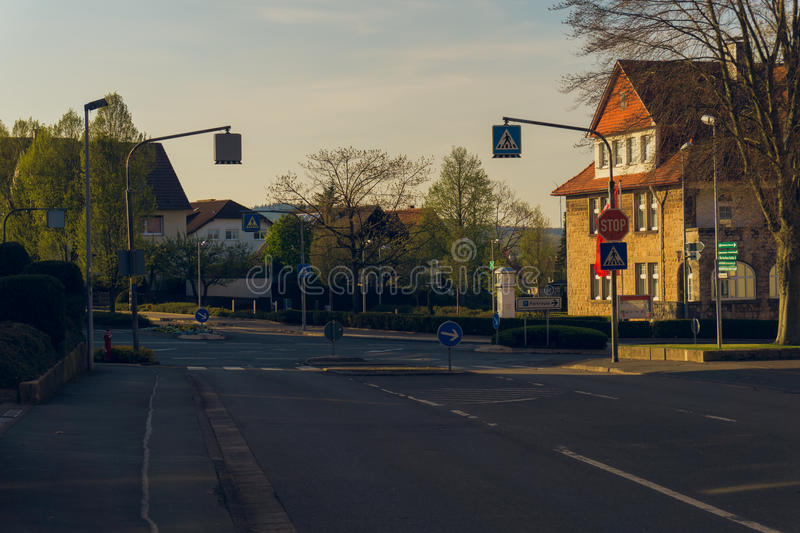 Crossroads in the suburbs stock photos
