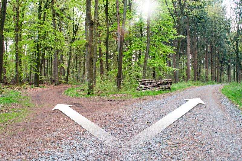 Crossroads two different directions - Choose the correct way. stock photo