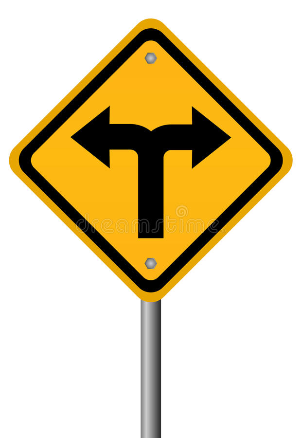 Crossroads two directions sign stock illustration
