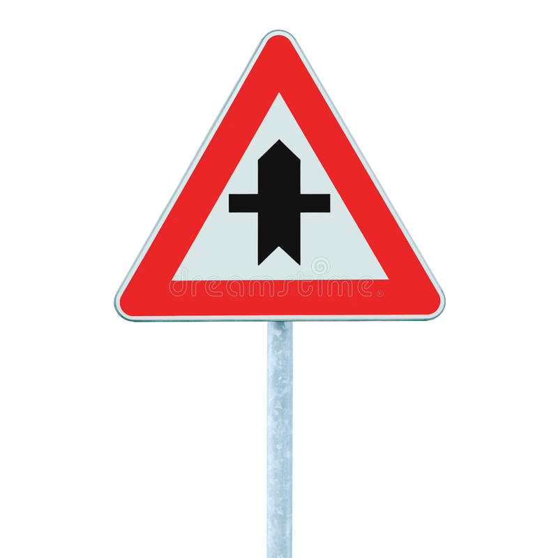Crossroads Warning Main Road Sign With Pole Post, isolated royalty free stock photo