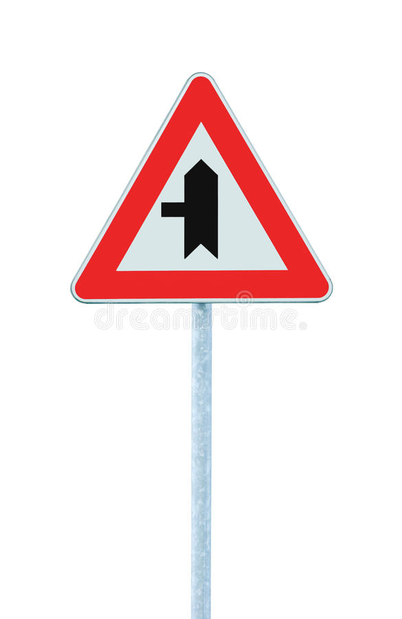 Crossroads Warning Main Road Sign With Pole Post, Left Hand Exit, Vertical Isolated Closeup royalty free stock images