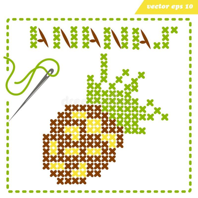 Crosstiched enkel ananas med framle och visaren royaltyfri illustrationer