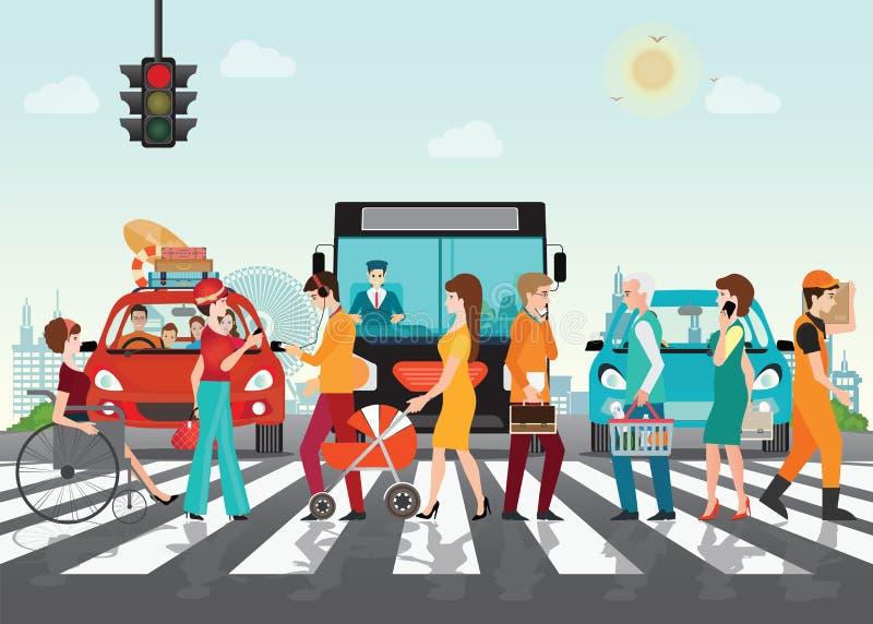 Crosswalk ścieżka na drodze z samochodami ilustracja wektor