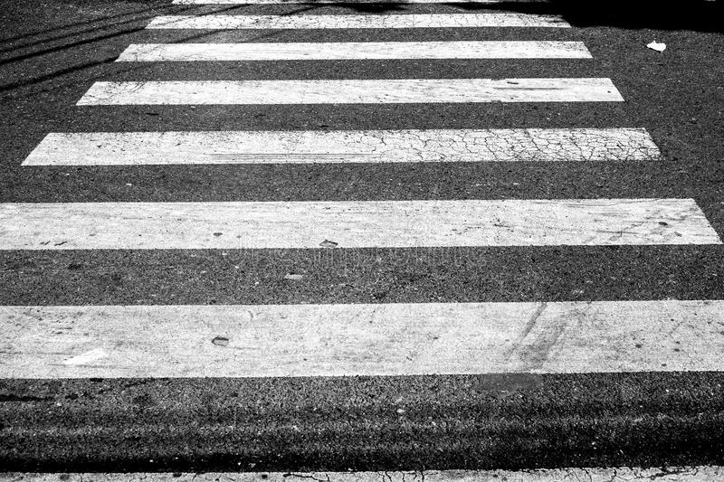 Crosswalk in black and white royalty free stock photography