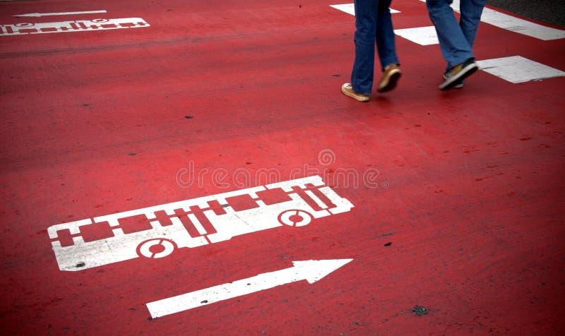 Crosswalk with bus sign stock photos