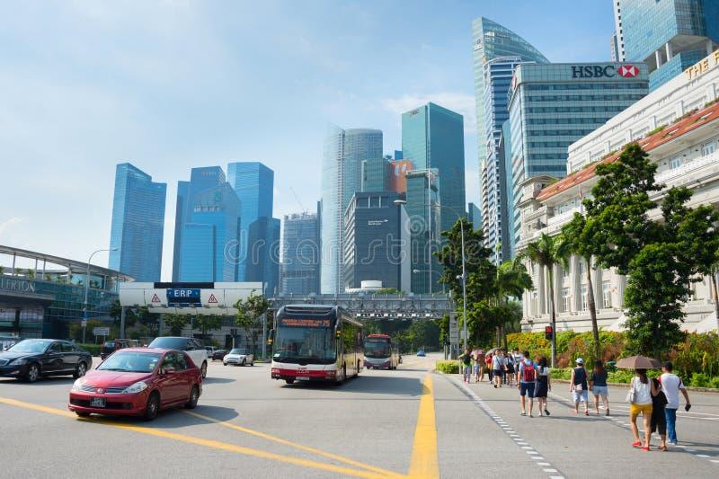 crosswalk, cars traffic, Singapore cityscape stock photo