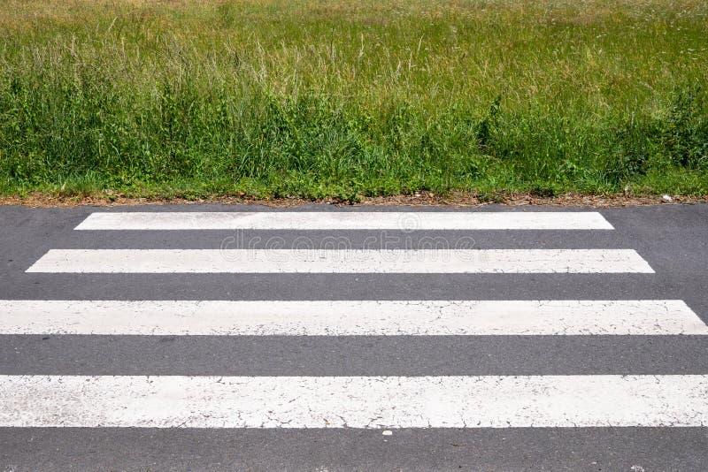 Crosswalk die eindigt op weide Urbanisatieconcept stock afbeelding