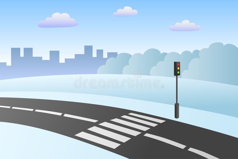 Crosswalk drogi krajobrazu zimy dnia ilustracja ilustracji