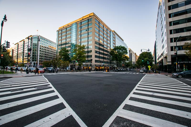 Crosswalk framing a building in downtown DC during a warm summer royalty free stock photography