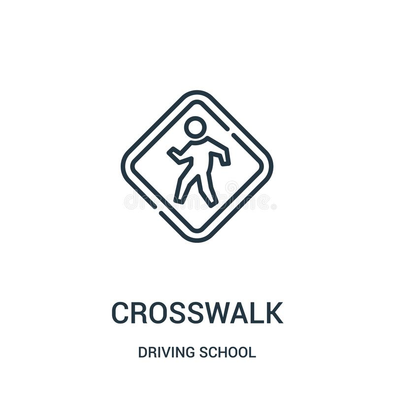 crosswalk icon vector from driving school collection. Thin line crosswalk outline icon vector illustration royalty free illustration