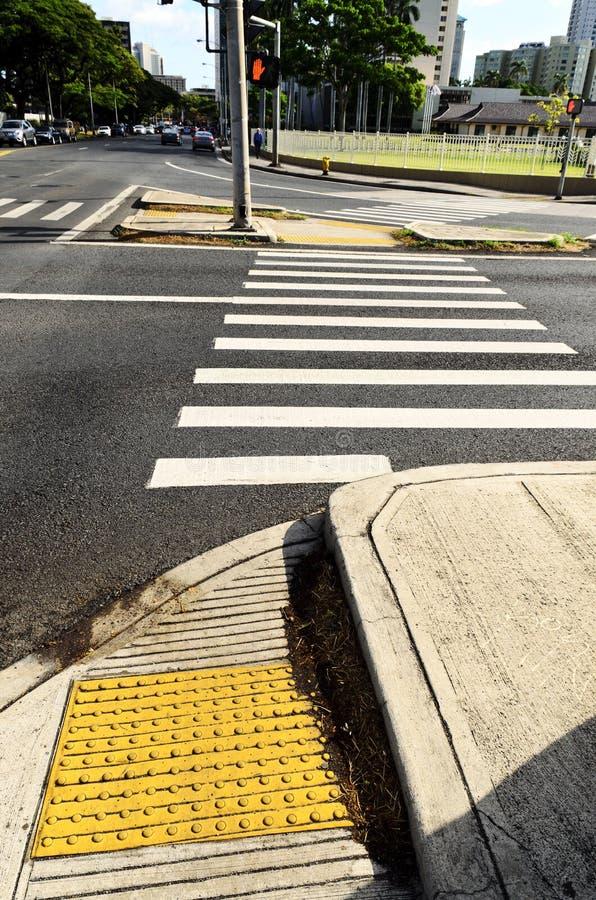 Crosswalk At Intersection Stock Photo