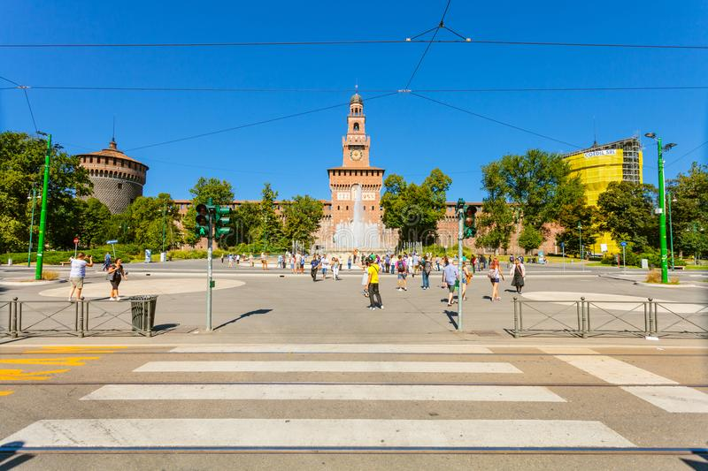 MILAN, ITALY - September 07, 2016: The crosswalk near metro station Cairoli which is located on the Piazzale Cairoli an stock image