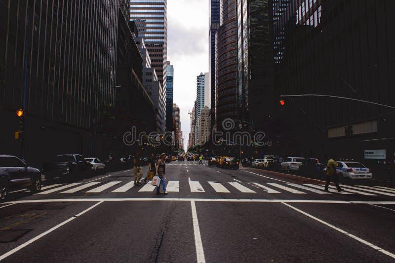 A crosswalk in New York City stock photos