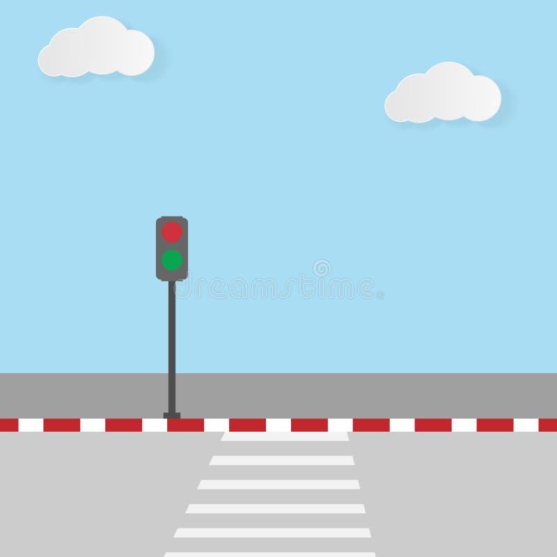 Crosswalk road and traffic light vector illustration