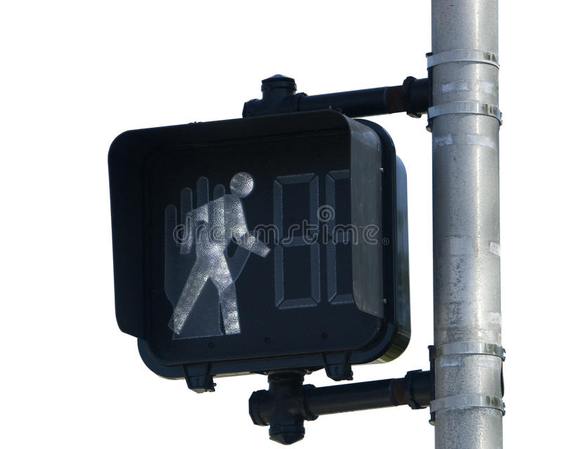 Crosswalk Signal. Pedestrian signal indicating walk isolated on a white background stock photo