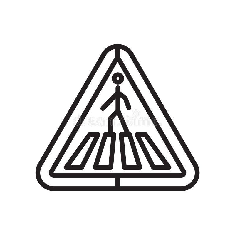 Crosswalk sygnał trójgraniasty kształt ikony wektoru znak i symbol odizolowywający na białym tle, Crosswalk trójgraniasty sygnał ilustracja wektor