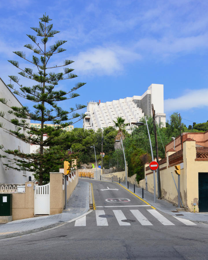 Crosswalk. View of the buildings and streets of the Spanish resort town of Tarragona stock image