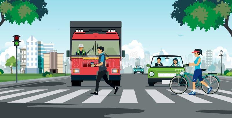 Crosswalk w mieście ilustracji