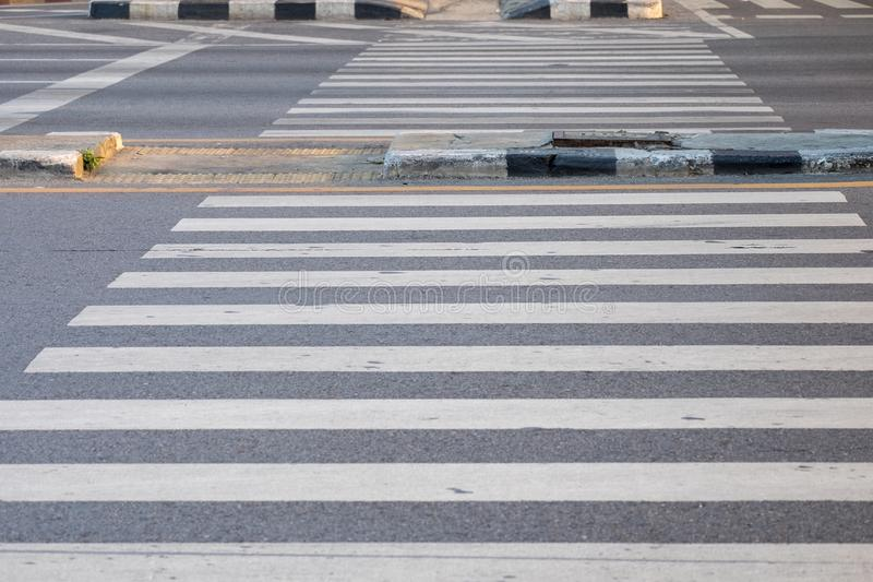 Crosswalk for walking across the street at the intersection stock photography