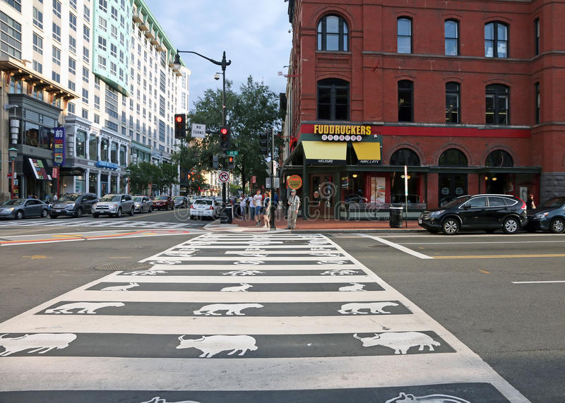 Crosswalk with zodiac symbols In Chinatown. The Intersection of 7th and H Streets NW, in Chinatown,Washington DC was painted with zodiac symbols by artist stock photos