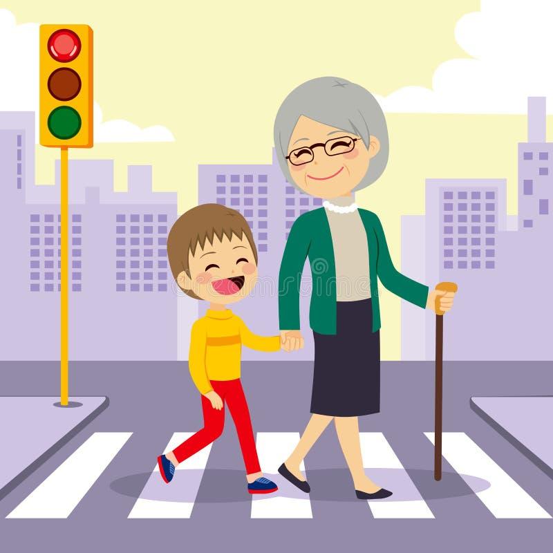 crosswalking男孩帮助的祖母 库存例证