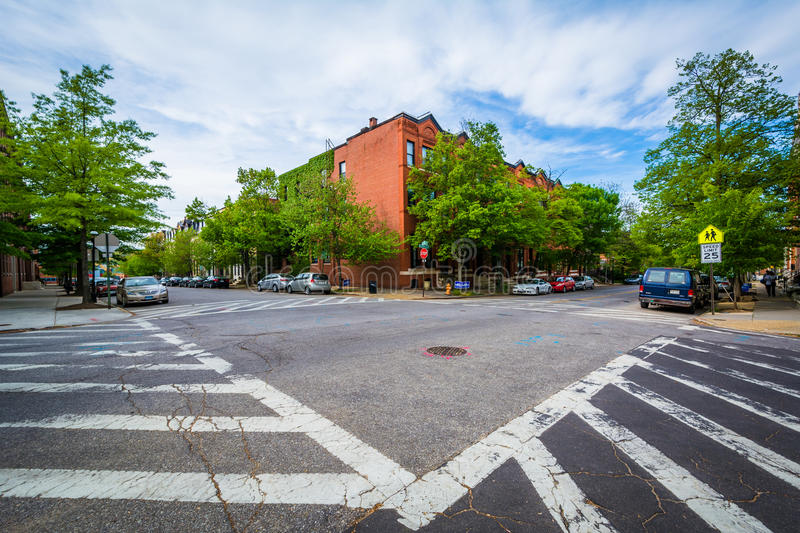 Crosswalks at the intersetion of John Street and Lafayette Avenue, in Bolton Hill, Baltimore, Maryland. stock images