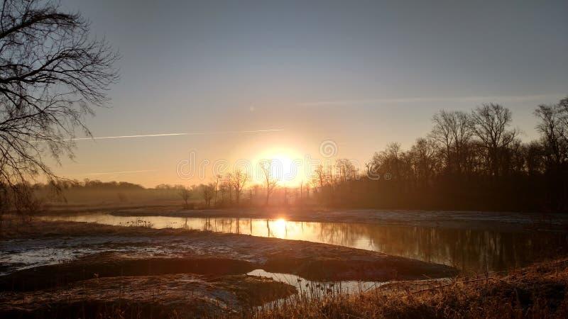 Crosswicks-Nebenfluss-Sonnenaufgang stockfoto