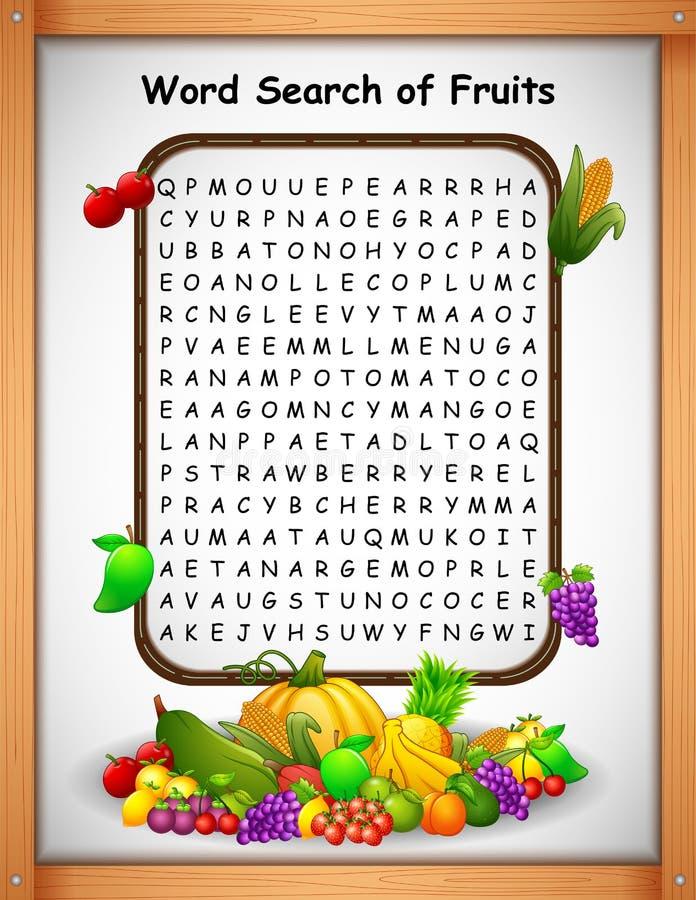 Crossword łamigłówek słowa znaleziska owoc dla dzieciak gier royalty ilustracja