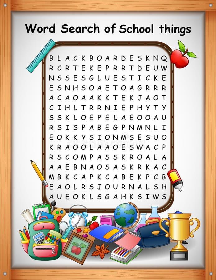 Crossword łamigłówek słowa znaleziska szkoły rzeczy dla dzieciak gier ilustracja wektor
