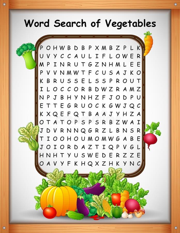 Crossword łamigłówek słowa znaleziska warzywa dla dzieciak gier royalty ilustracja