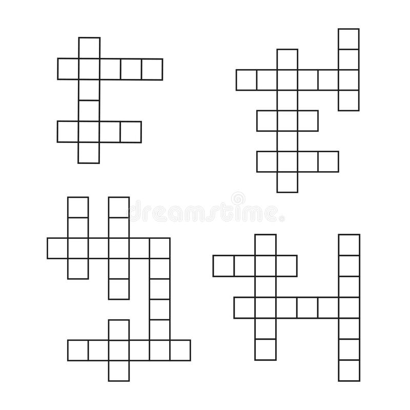 Crossword łamigłówki płaskie ikony ustawiać Wektorowy crosswords szablon royalty ilustracja
