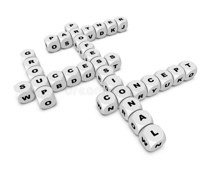 Crossword. Professional,success crossword in white dice stock illustration