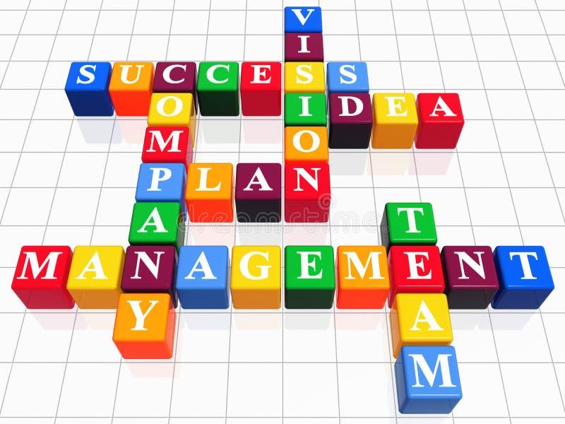 Crossword. 3d color boxes like crossword - success; plan; idea; company; vision; management; team stock illustration