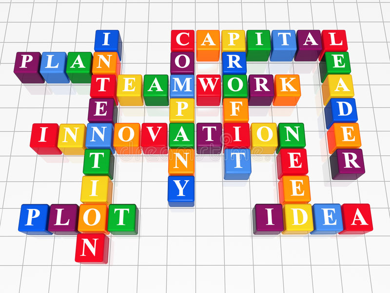 Crossword 5. 3d color boxes crossword - capital, teamwork, innovation, plan, plot, idea, intention, company, profit, need, leader