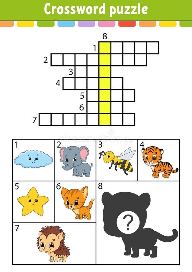 Crossword ?amig??wka Edukacji rozwija worksheet Aktywno?ci strona dla nauk angielszczyzn Z kolor?w obrazkami Gra dla dzieci royalty ilustracja