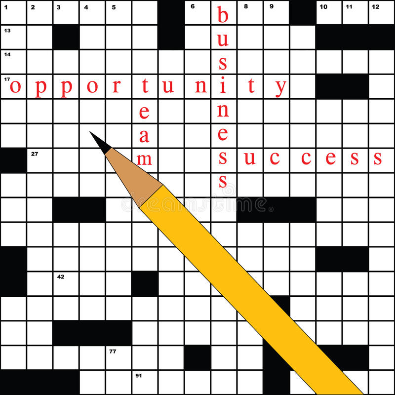 Crossword with business words vector illustration