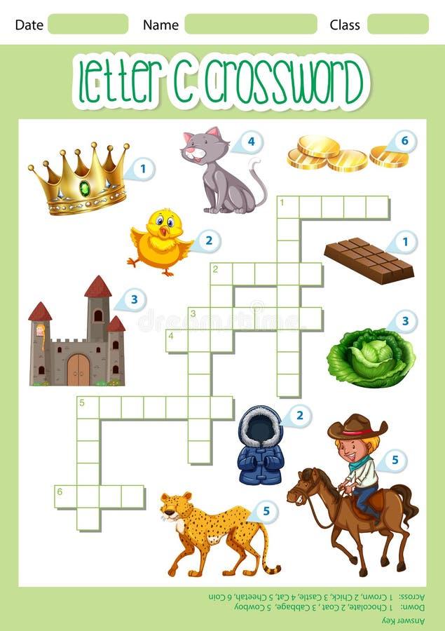 Crossword C gry listowy szablon ilustracja wektor