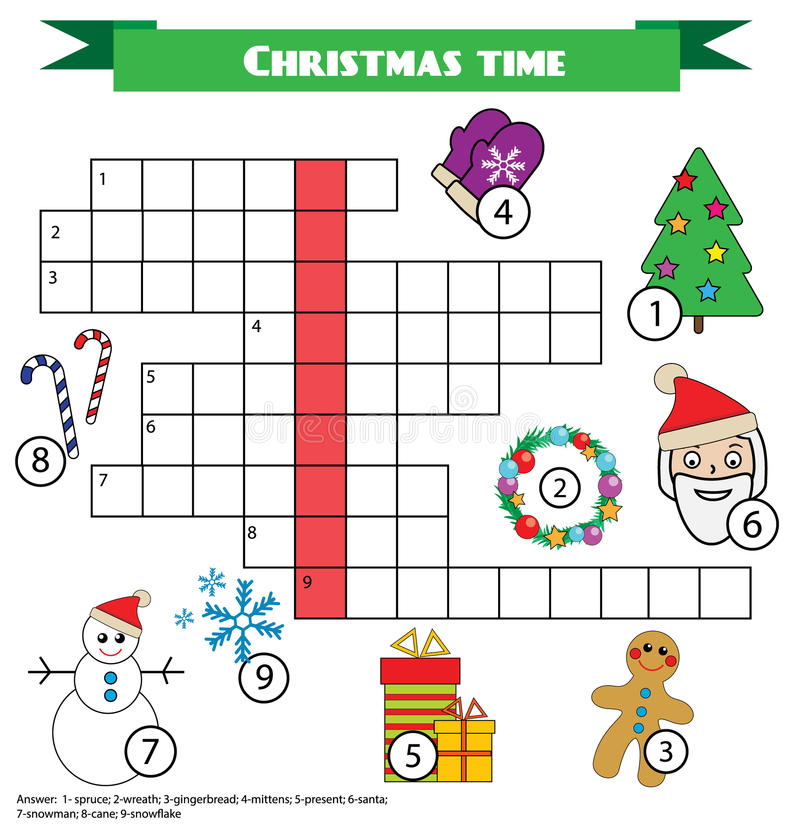 crossword educational children game with answer christmas. Black Bedroom Furniture Sets. Home Design Ideas