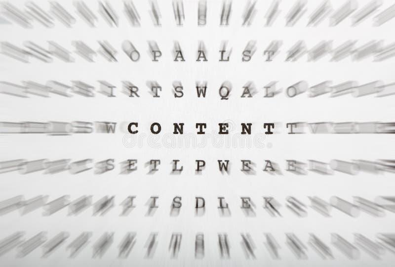 Crossword listy, ostrość na słowo zawartości fotografia stock