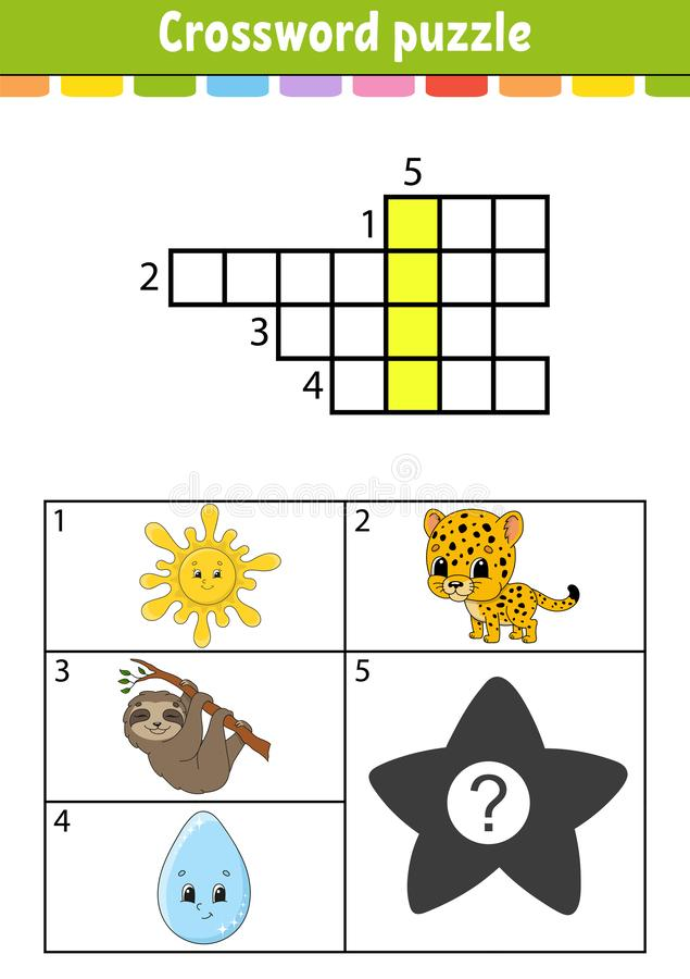 Crossword puzzle. Education developing worksheet. Activity page for study English. With color pictures. Game for children. Isolated vector illustration. Funny vector illustration