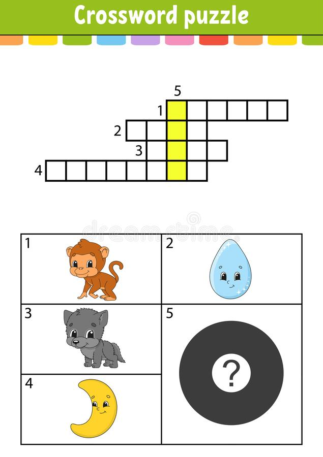 Crossword puzzle. Education developing worksheet. Activity page for study English. With color pictures. Game for children. Isolated vector illustration. Funny royalty free illustration