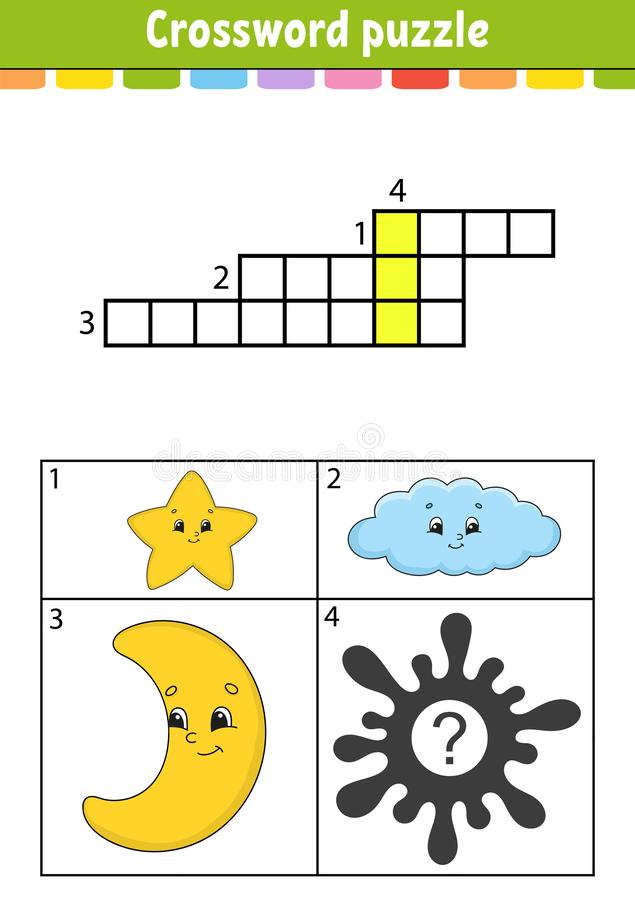 Crossword puzzle. Education developing worksheet. Activity page for study English. With color pictures. Game for children. Isolated vector illustration. Funny stock illustration
