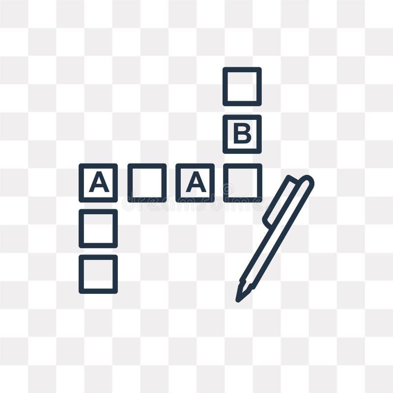 Crossword wektorowa ikona odizolowywająca na przejrzystym tle, liniowym ilustracja wektor