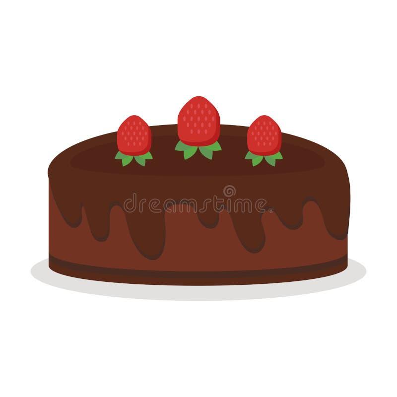 A crosta doce isolada da sobremesa do alimento da ilustração do vetor do bolo de aniversário do chocolate a torta de creme cozeu  ilustração royalty free