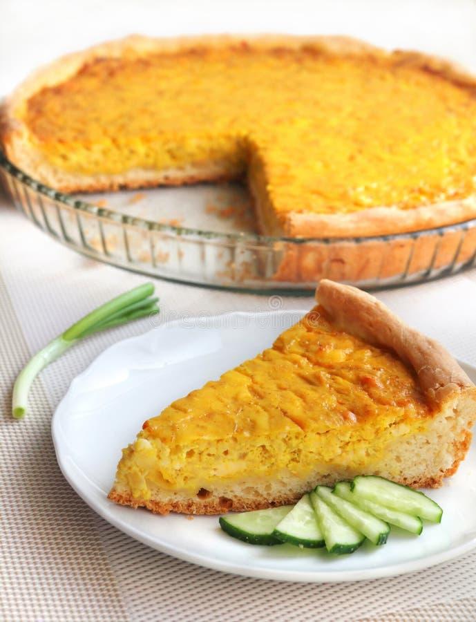 Crostata con le cipolle, il formaggio e la curcuma fotografie stock libere da diritti