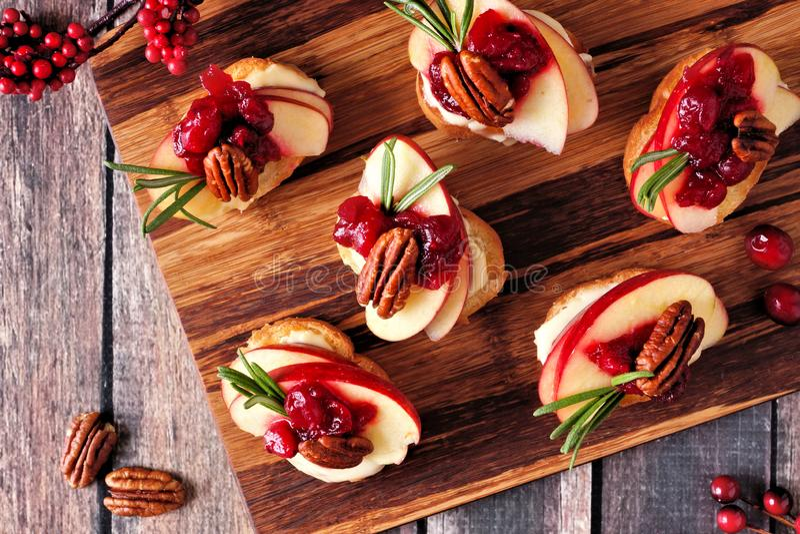 Crostini aptitretare med äpplen, tranbär och brie, över på ett träuppläggningsfat royaltyfri foto