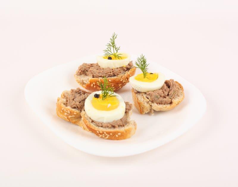 Crostini topped with tuna cream stock photography